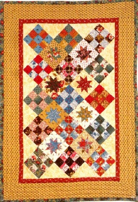Big Charm Pack or Layercake Nine Patch Floating Stars Quilt